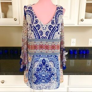 Coco Bianco Cold Shoulder Peasant Blouse Large